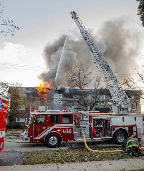 Leyden Township FPD quint battles a fire