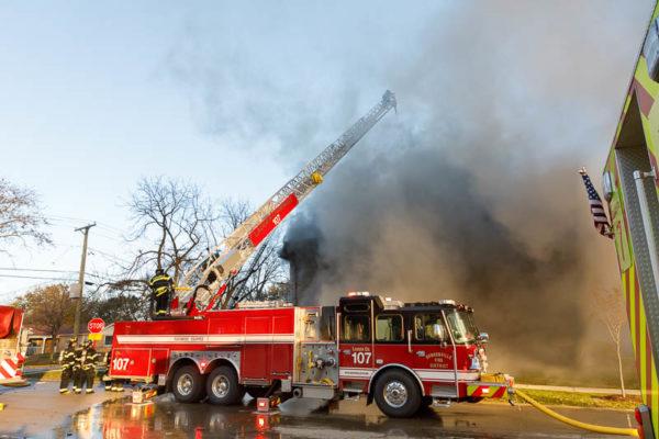 Bensenville FPD quint battles a fire