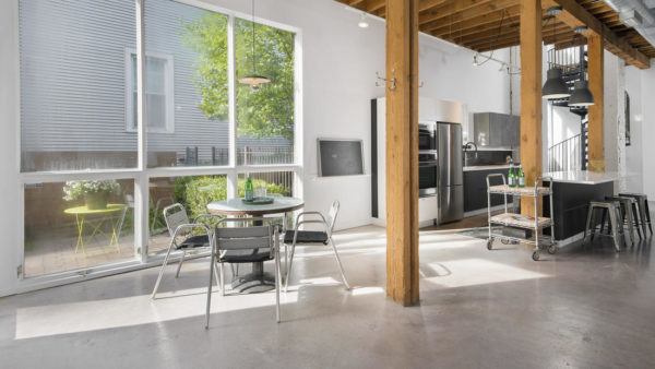 interior of Rehabbed former Chicago fire house for sale