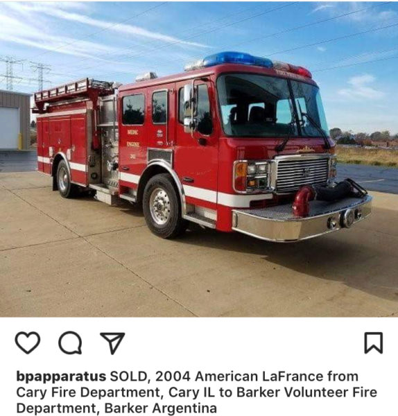 Former Cary fire engine finds new home in Argentina