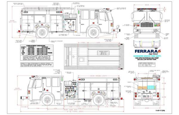mechanical drawing of new fire engine  u00ab chicagoareafire com