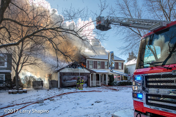 Wheeling FD Tower 24 Rosenbauer Commander Cobra at a house fire