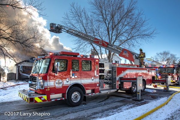 Wheeling FD Tower 24 Rosenbauer Commander Cobra at a fire scene