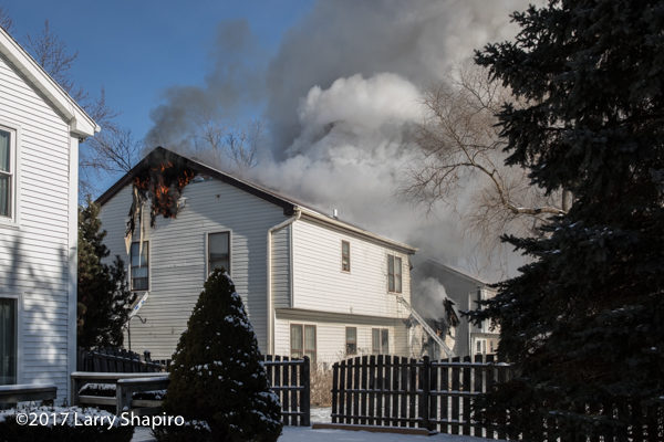 heavy smoke from home on fire