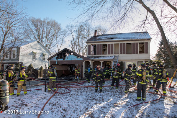 aftermath of house fire in Deerfield
