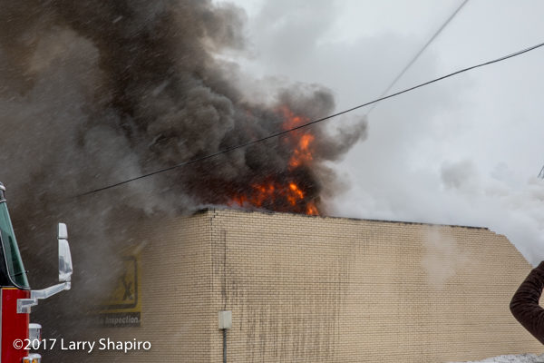 smoke and flames from commercial building fire