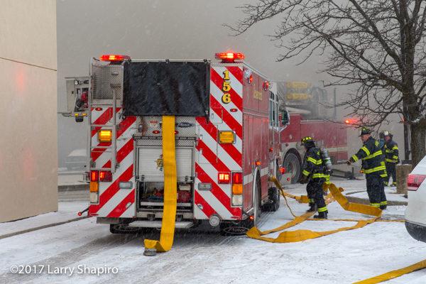 Pierce PUC fire engine at fire scene