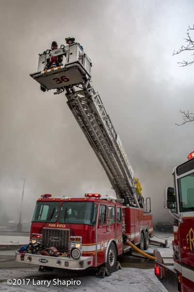 Park Ridge FD Tower 36 going to work E-ONE tower ladder