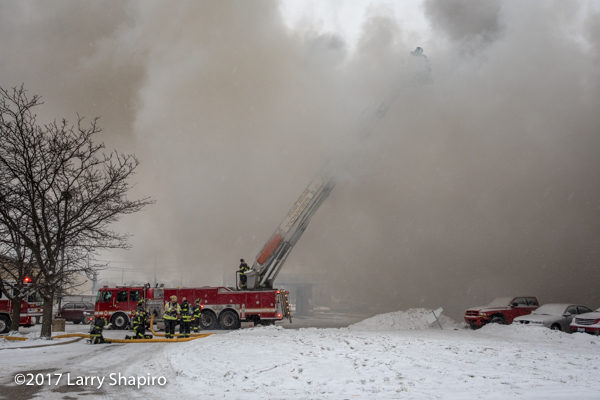 Park Ridge FD Tower 36 at work E-ONE tower ladder
