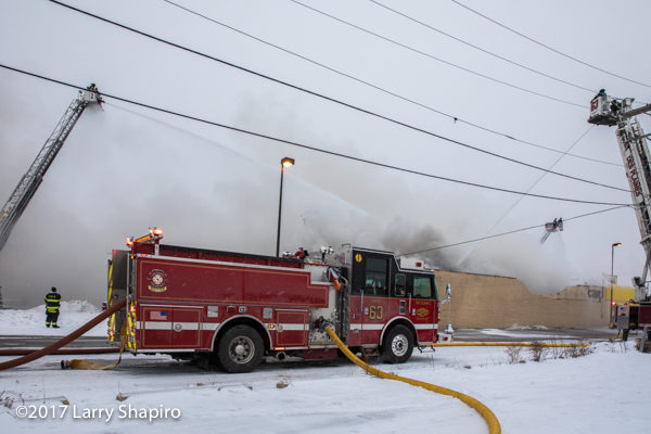 Des Plaines FD Engine 63 at a fire scene
