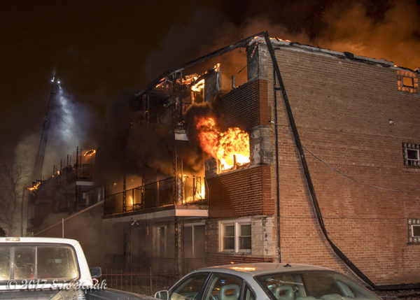 huge flames during apartment building fire