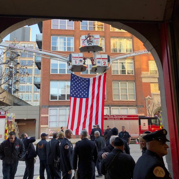 Chicago firefighters at walkout for Chief Michael Fox