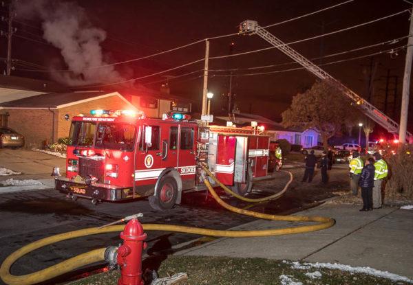 house fire scene in Skokie