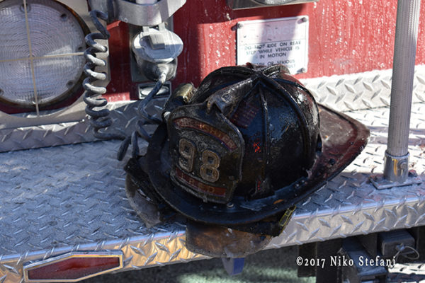 firefighter helmet with ice