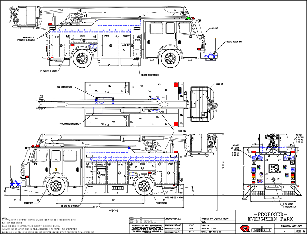 Mechanical drawing of Rosenbauer America ACP-55 for the Evergreen Park FD