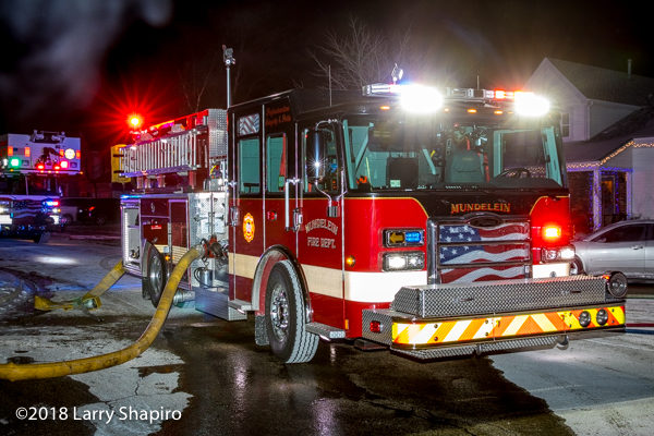 Mundelein FD Engine 4317 Pierce Enforcer on a hydrant
