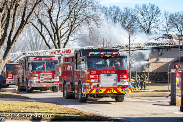 Pierce fire trucks at Des Plaines house fire
