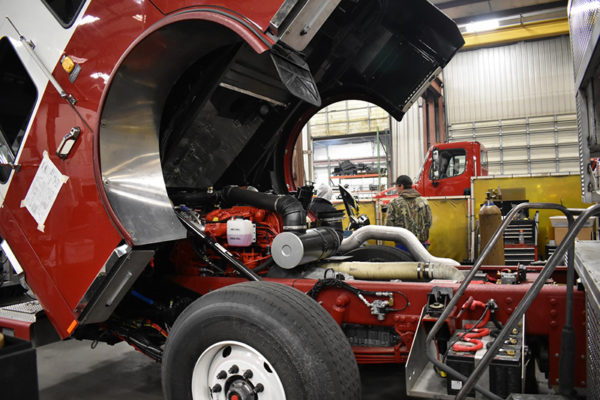 Fire engine being built by Ferrara Fire Apparatus
