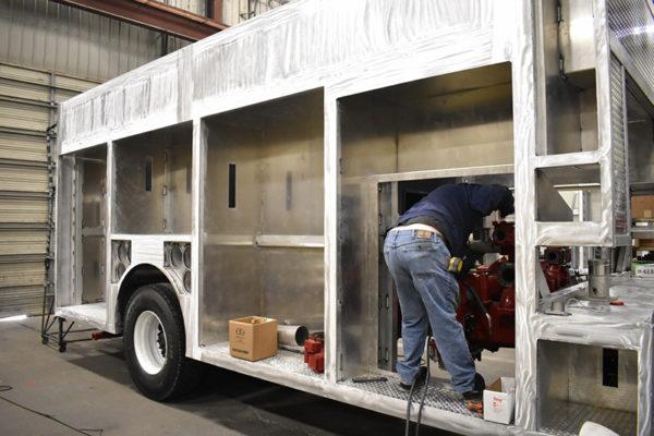 Fire engine being built by Ferrara Fire Apparatus