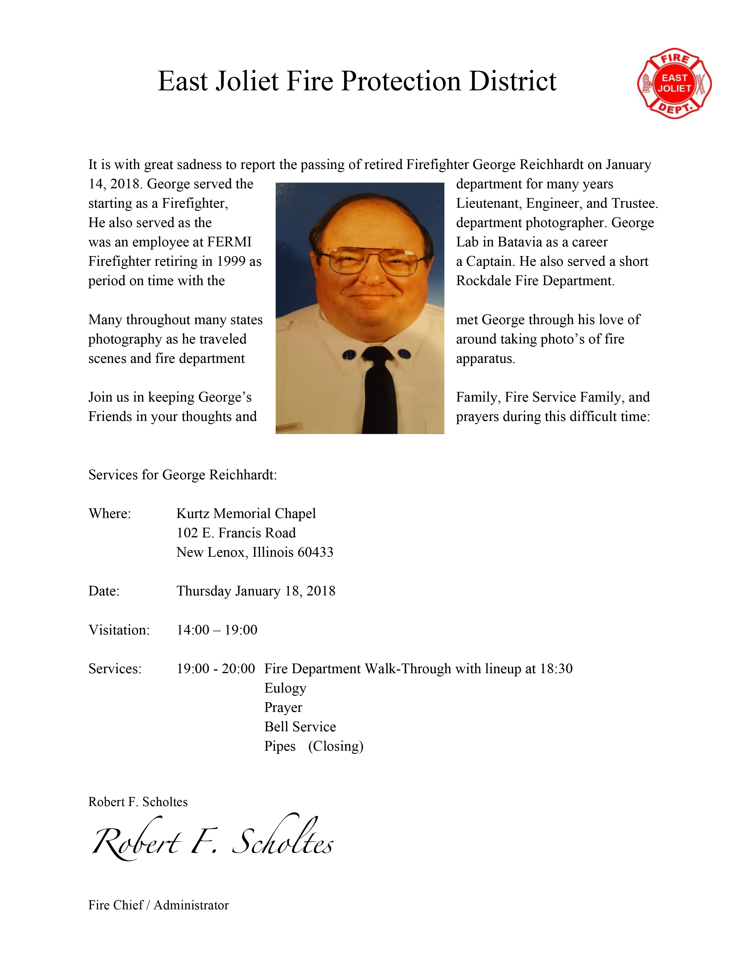 Funeral arrangements for George Reichhardt