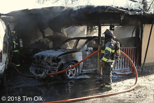 garage destroyed by fire in the winter