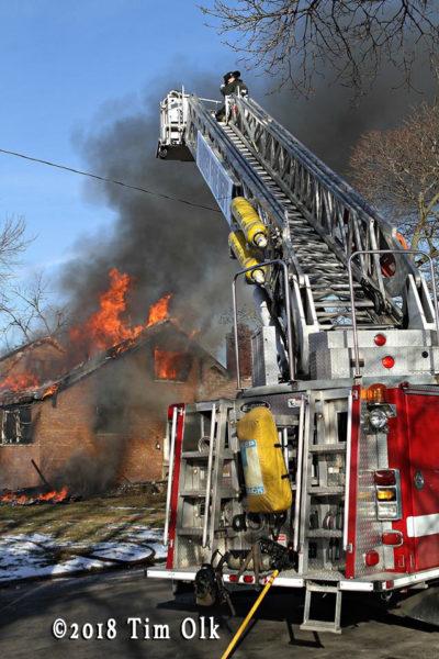 heavy fire from house fie