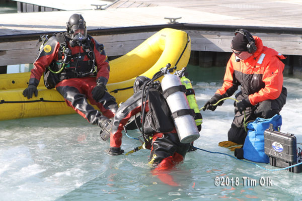 fire department divers training in cold water
