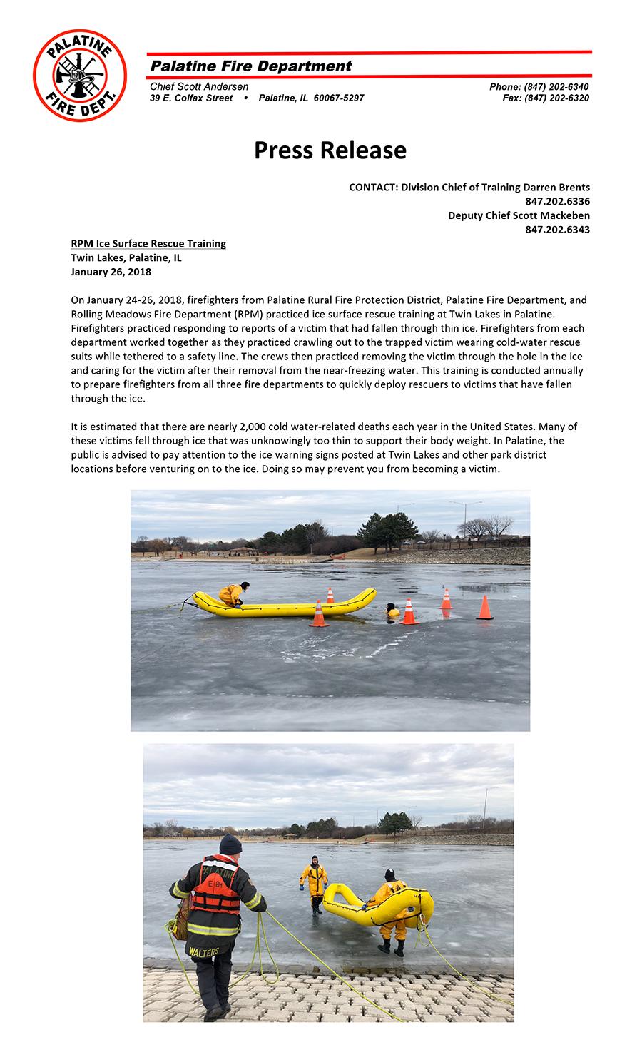FD Ice Rescue Training