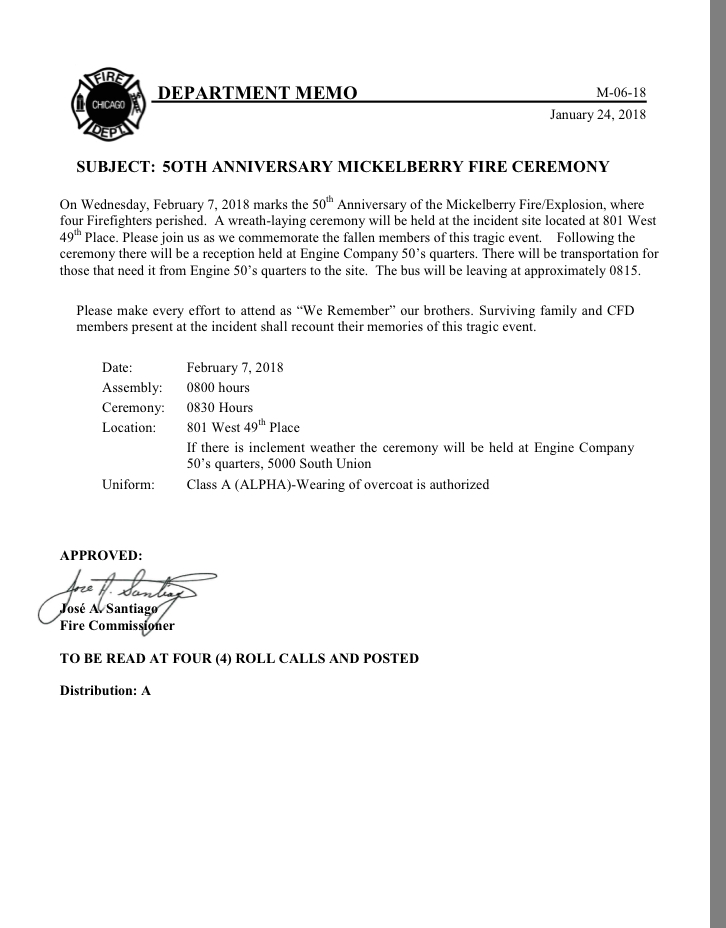 Chicago FD Memo M-06-18