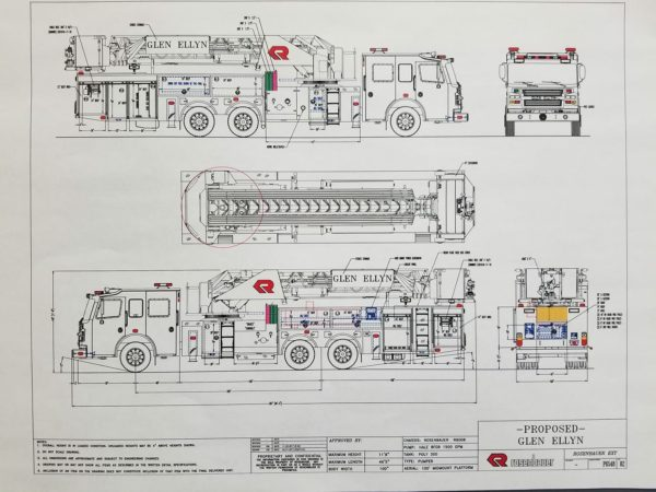 Mechanical drawing of a Rosenbauer mid-mount Cobra aerial platform