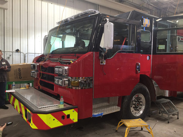 new fire engine being built for Arlington Heights