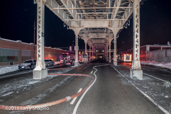 fire hose under the elevated train in Chicago