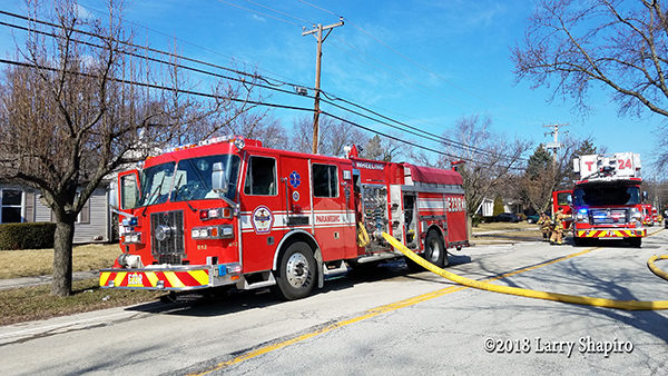 Wheeling FD fire engine with hose attached