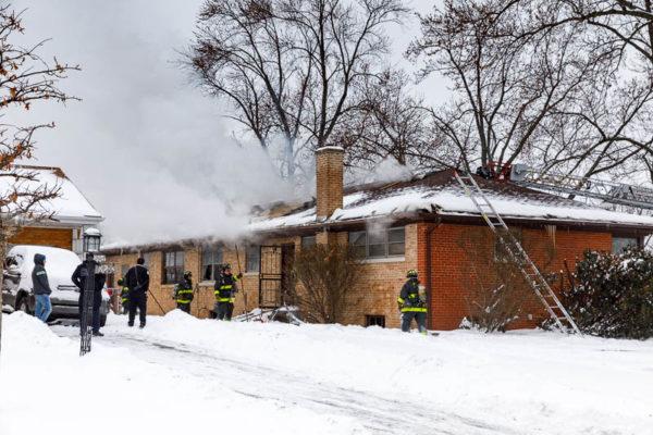 winter house fire scene