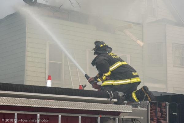 Firefighter sues deck gun from engine