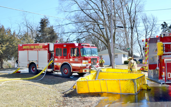 Bristol FD fire engine drafting from a portable tank
