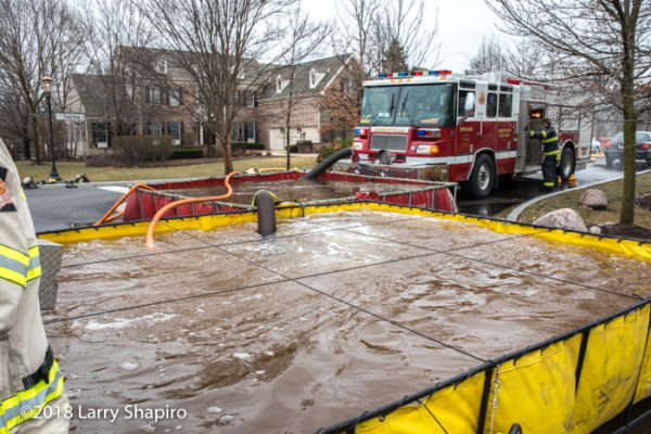 fire engine drafting from portable tanks