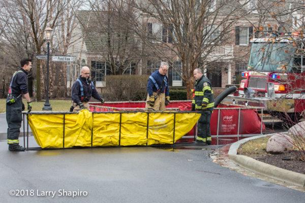 portable tanks at fire scene