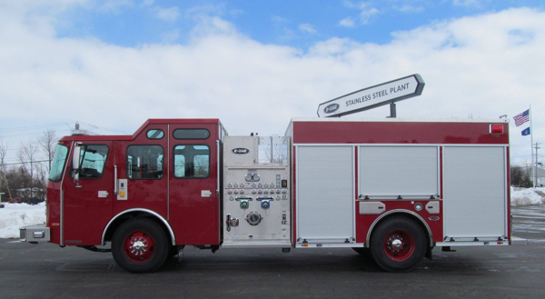 E-ONE stainless steel fire engine