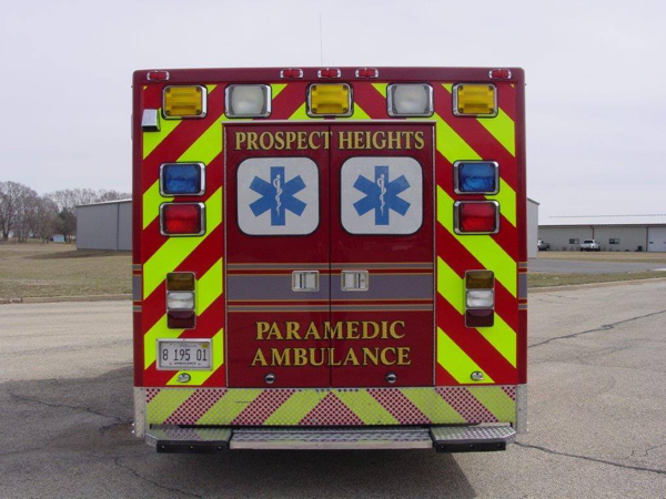 chevron striping on rear of ambulance