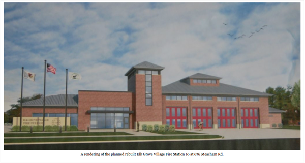 Rendering of new fire station for Elk Grove Village IL