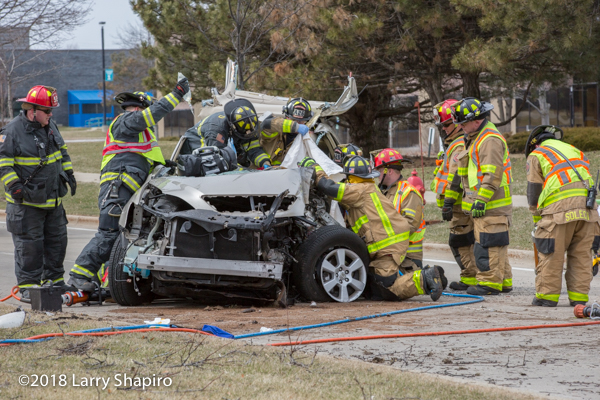 Buffalo Grove Firefighters cut trapped driver from car