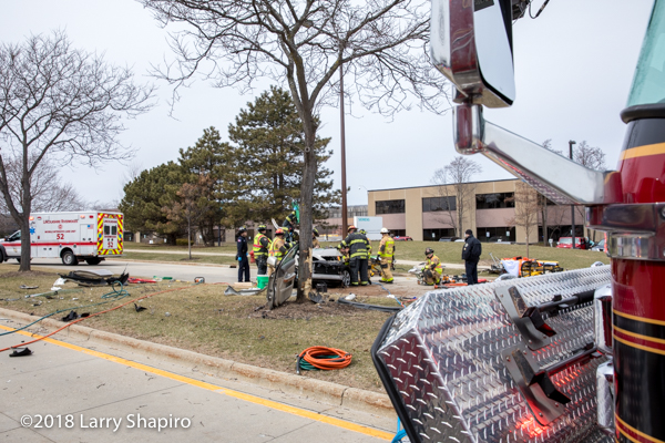 crash scene with Firefighters and fire truck