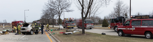 fire trucks at Buffalo Grove crash scene