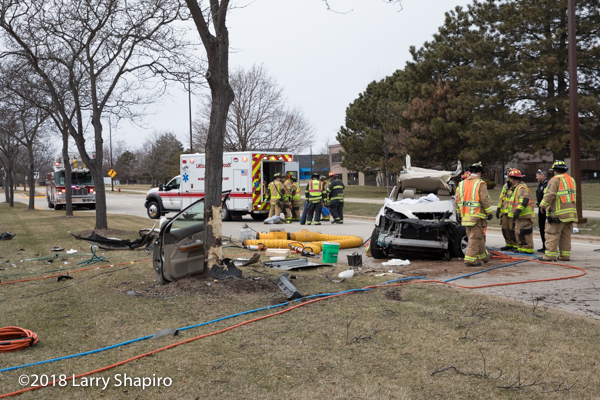 crash scene with ambulance