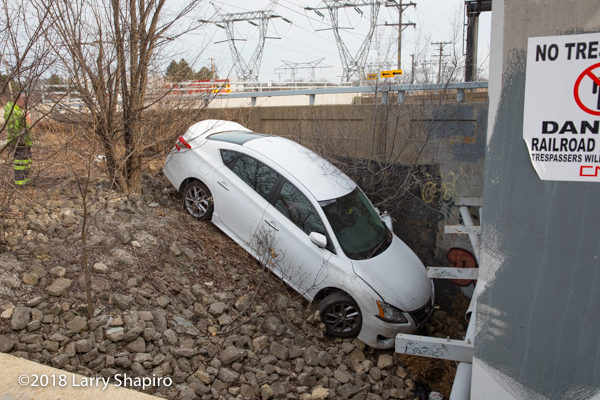 car under the railroad bridge in Wheeling IL