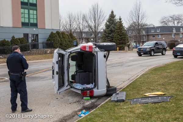 SUV on its side after crash