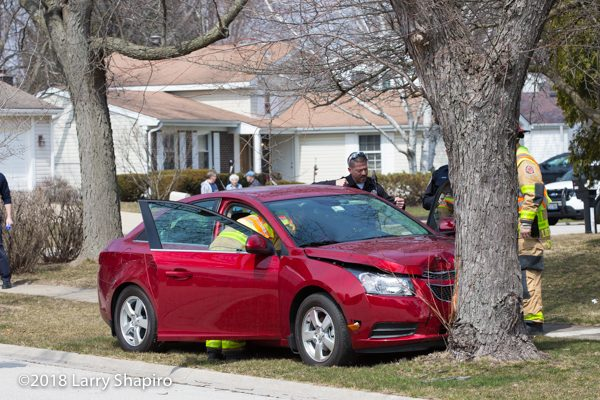 one-car crash with a tree in Buffalo Grove