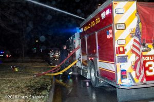 Highland Park FD Squad 33 fire engine flowing deck gun
