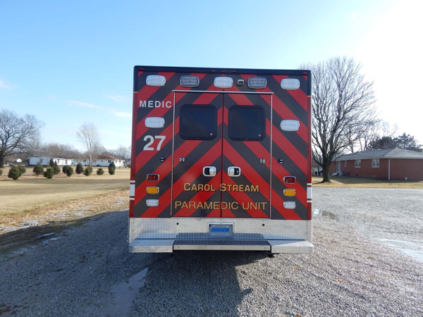 chevron striping on back of ambulance black and red